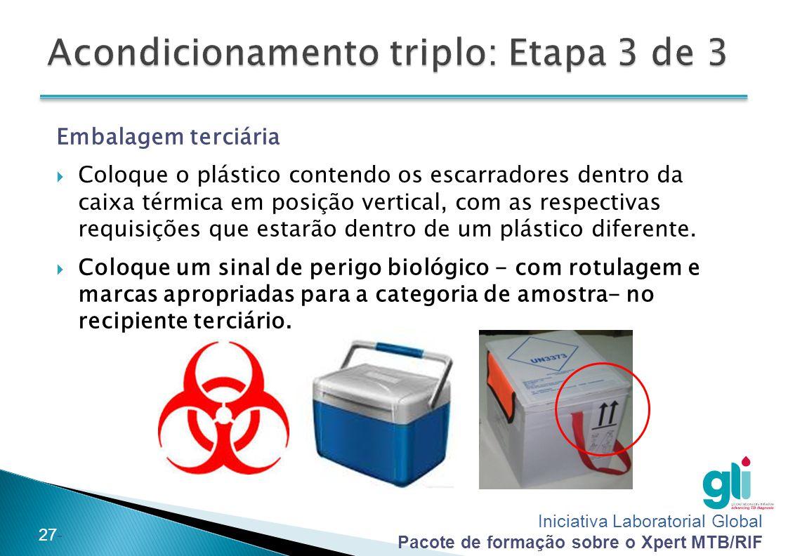 Iniciativa Laboratorial Global Pacote de formação sobre o Xpert MTB/RIF -27- Embalagem terciária  Coloque o plástico contendo os escarradores dentro