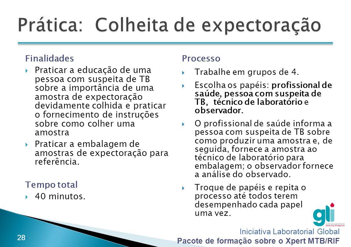 Iniciativa Laboratorial Global Pacote de formação sobre o Xpert MTB/RIF -28- Finalidades  Praticar a educação de uma pessoa com suspeita de TB sobre