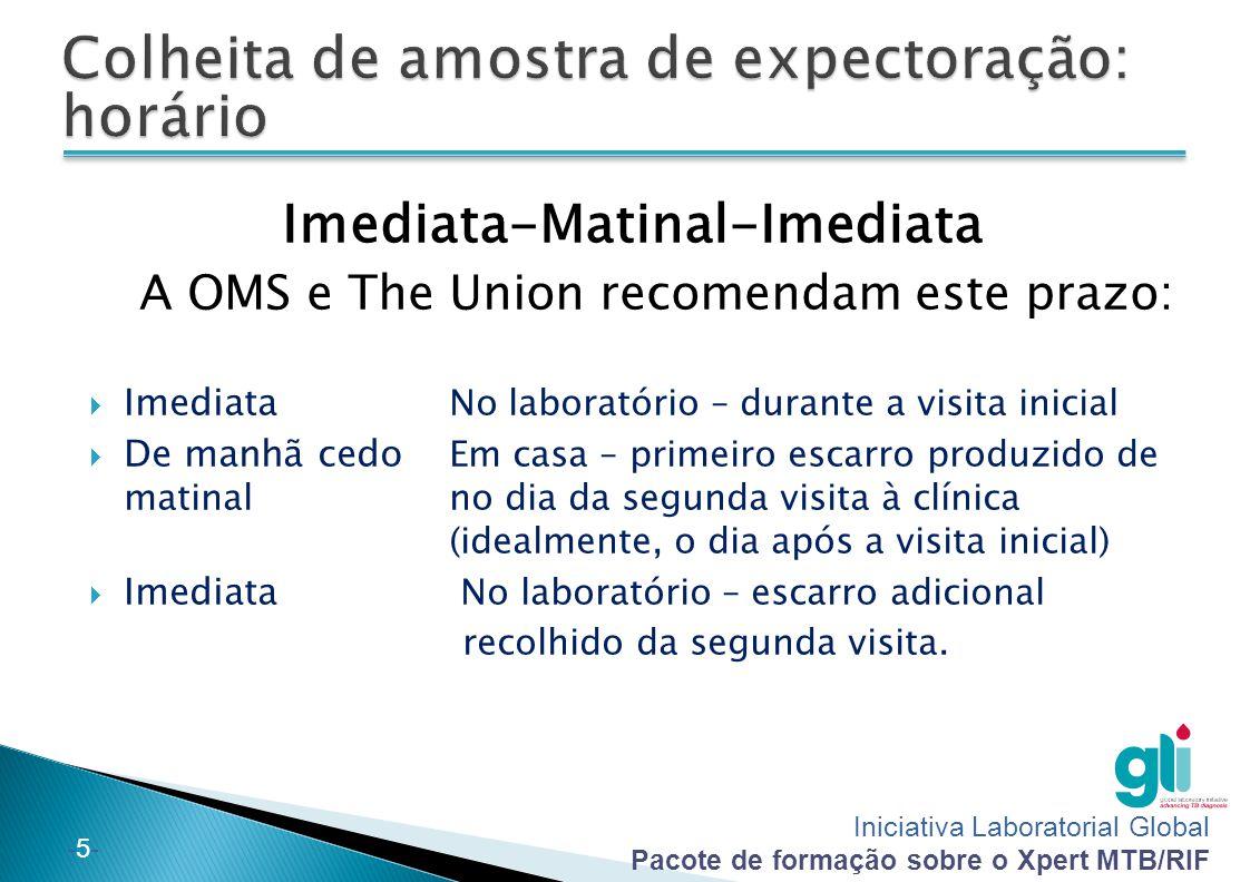 Iniciativa Laboratorial Global Pacote de formação sobre o Xpert MTB/RIF -5--5- Imediata-Matinal-Imediata A OMS e The Union recomendam este prazo:  Im