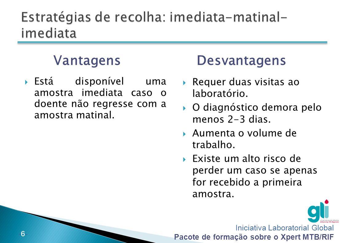 Iniciativa Laboratorial Global Pacote de formação sobre o Xpert MTB/RIF -6--6- Vantagens  Está disponível uma amostra imediata caso o doente não regr