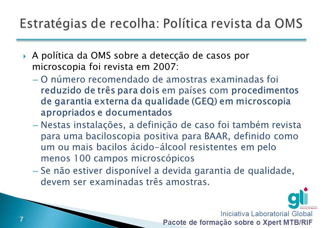 Iniciativa Laboratorial Global Pacote de formação sobre o Xpert MTB/RIF -7--7-  A política da OMS sobre a detecção de casos por microscopia foi revis