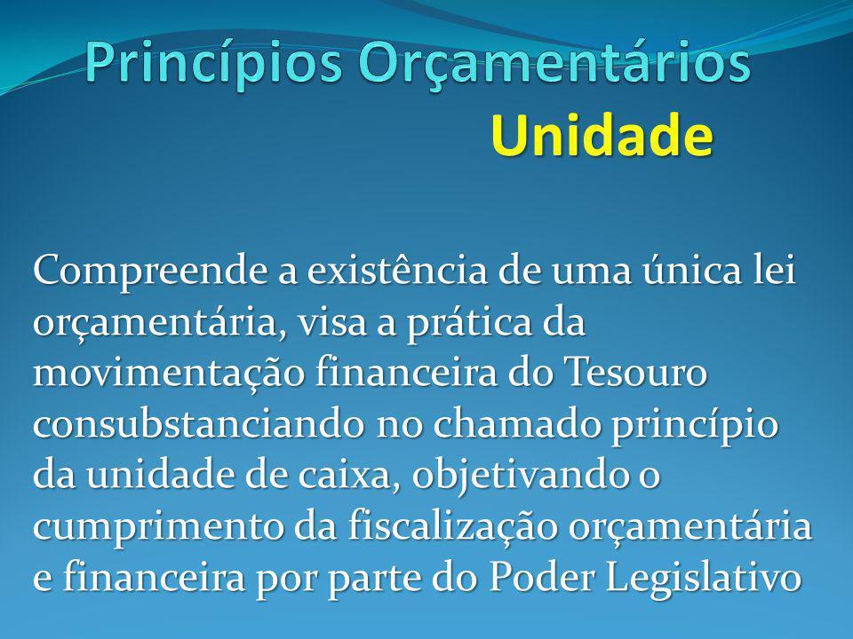 Unidade Compreende a existência de uma única lei orçamentária, visa a prática da movimentação financeira do Tesouro consubstanciando no chamado princípio da unidade de caixa, objetivando o cumprimento da fiscalização orçamentária e financeira por parte do Poder Legislativo