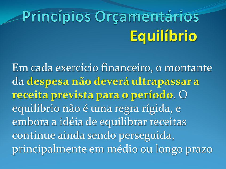Equilíbrio Em cada exercício financeiro, o montante da despesa não deverá ultrapassar a receita prevista para o período.