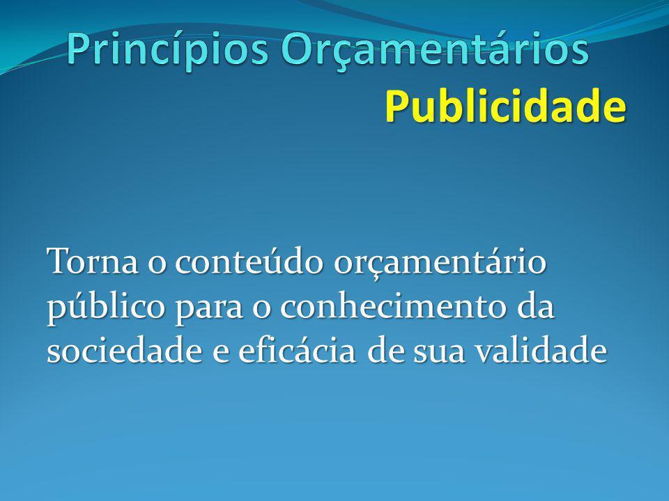 Publicidade Torna o conteúdo orçamentário público para o conhecimento da sociedade e eficácia de sua validade