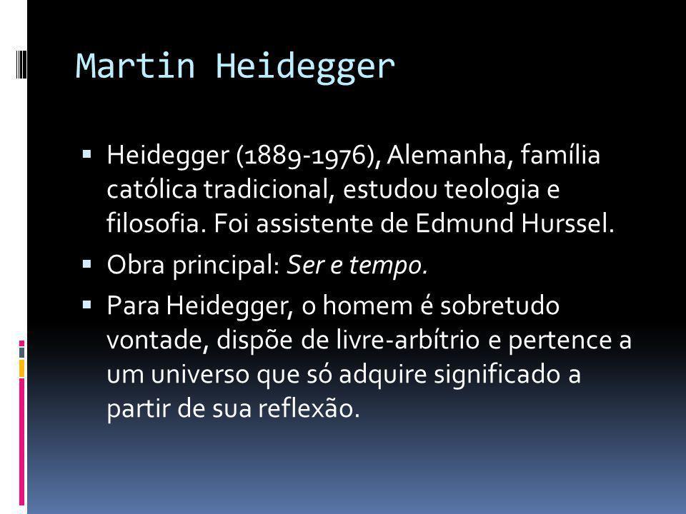 Martin Heidegger  Heidegger (1889-1976), Alemanha, família católica tradicional, estudou teologia e filosofia. Foi assistente de Edmund Hurssel.  Ob