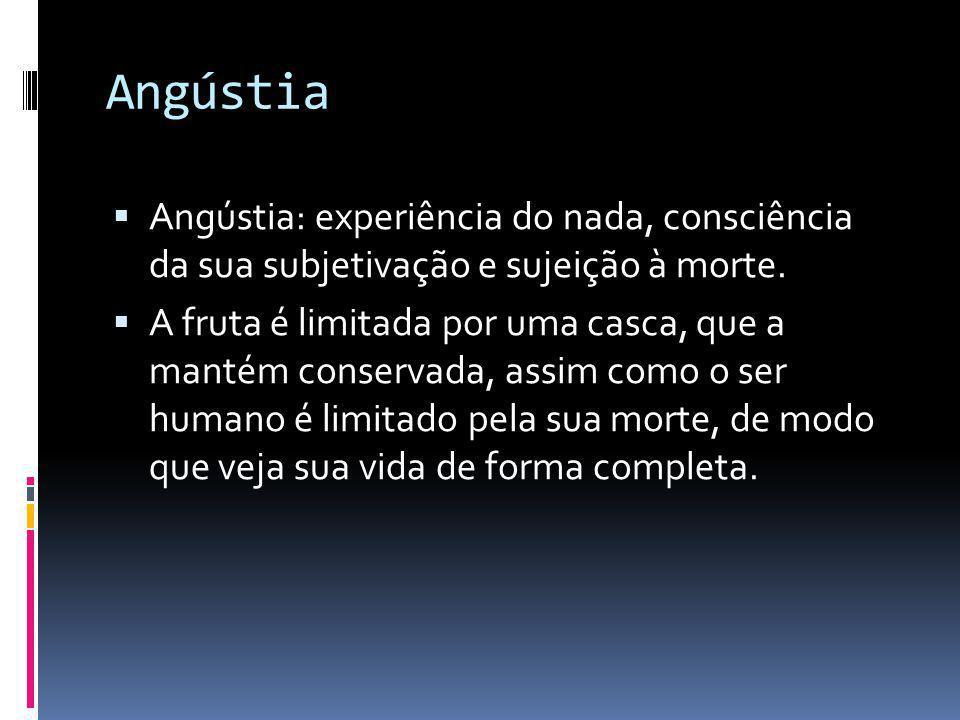 Angústia  Angústia: experiência do nada, consciência da sua subjetivação e sujeição à morte.  A fruta é limitada por uma casca, que a mantém conserv