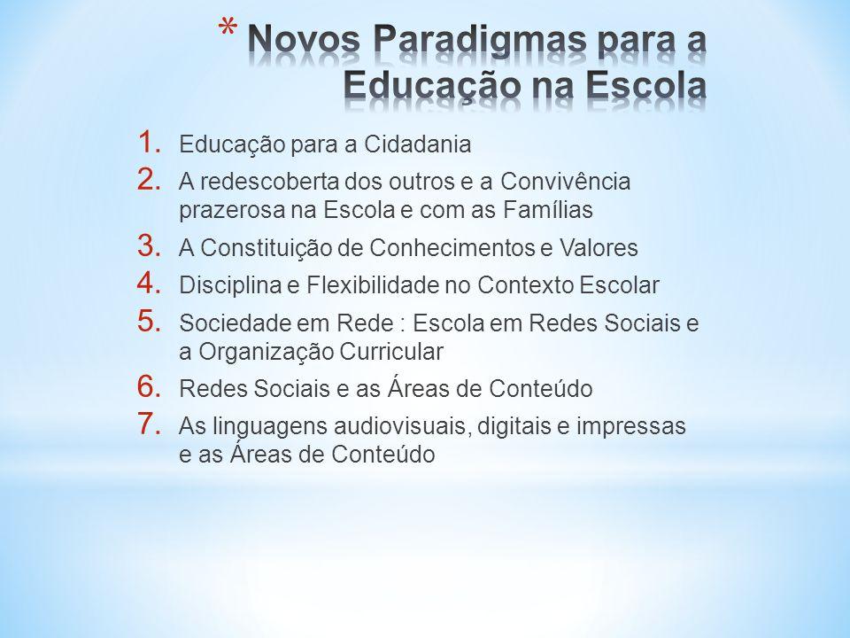 1. Educação para a Cidadania 2. A redescoberta dos outros e a Convivência prazerosa na Escola e com as Famílias 3. A Constituição de Conhecimentos e V