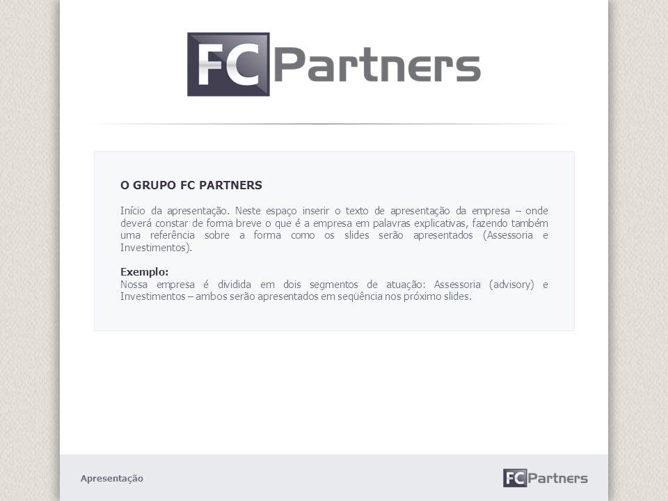 PORTFÓLIO Espaço dedicado à exposição do portfólio da empresa – segmento de atuação – Investimentos.
