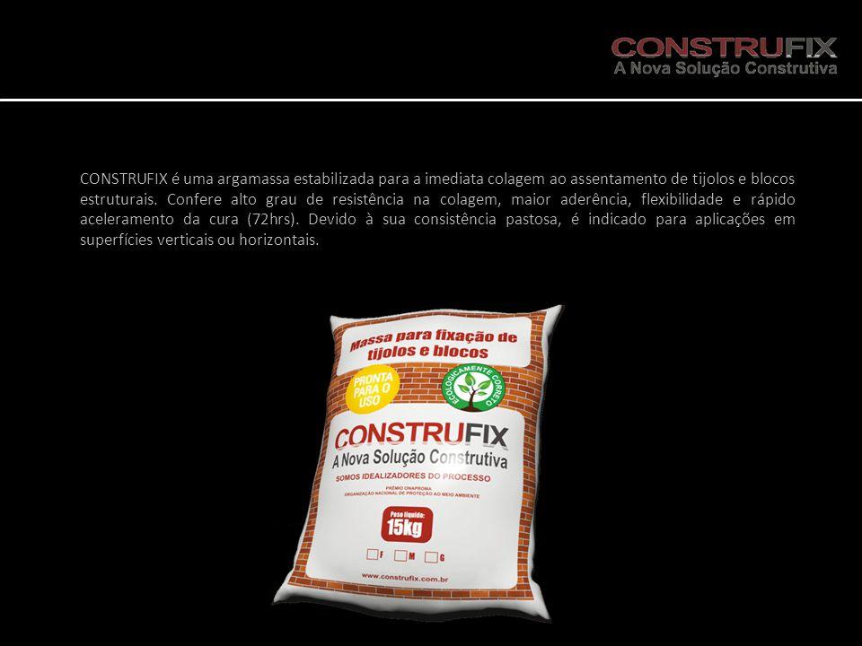 CONSTRUFIX é uma argamassa estabilizada para a imediata colagem ao assentamento de tijolos e blocos estruturais. Confere alto grau de resistência na c