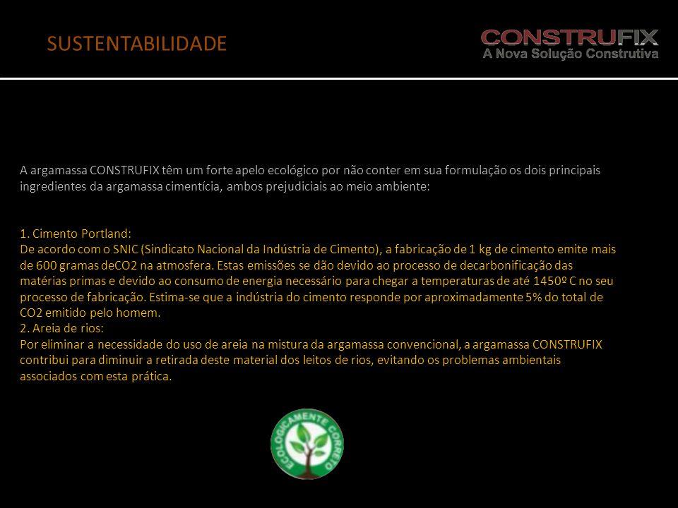 A argamassa CONSTRUFIX têm um forte apelo ecológico por não conter em sua formulação os dois principais ingredientes da argamassa cimentícia, ambos pr