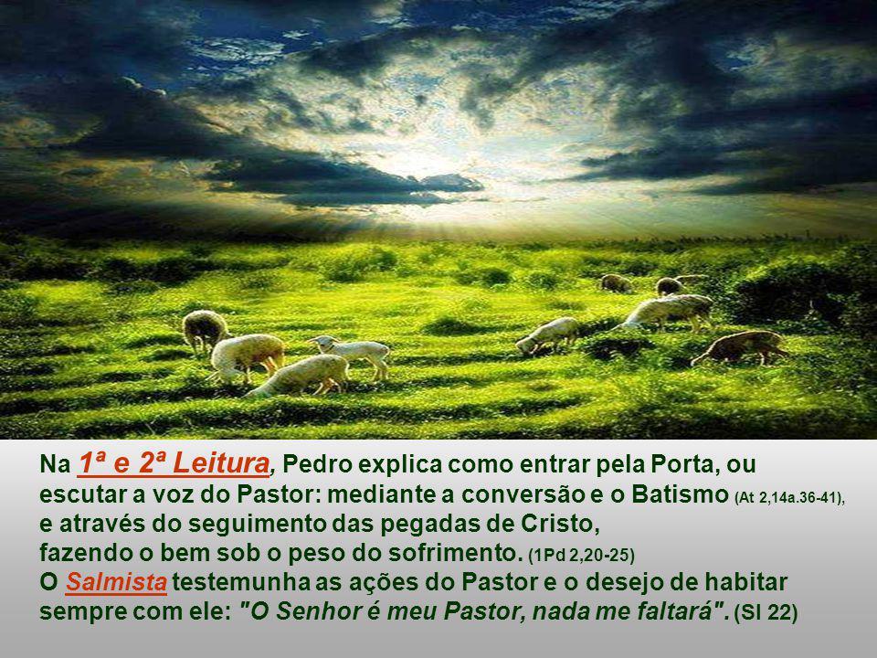 Na 1ª e 2ª Leitura, Pedro explica como entrar pela Porta, ou escutar a voz do Pastor: mediante a conversão e o Batismo (At 2,14a.36-41), e através do seguimento das pegadas de Cristo, fazendo o bem sob o peso do sofrimento.