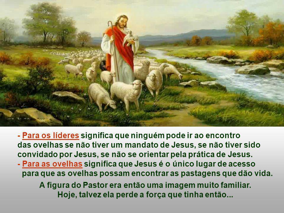- Para os líderes significa que ninguém pode ir ao encontro das ovelhas se não tiver um mandato de Jesus, se não tiver sido convidado por Jesus, se não se orientar pela prática de Jesus.