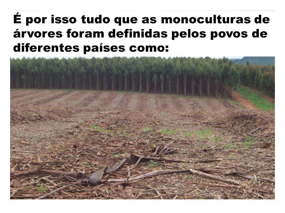 É por isso tudo que as monoculturas de árvores foram definidas pelos povos de diferentes países como: