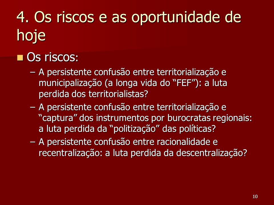 """10 4. Os riscos e as oportunidade de hoje Os riscos : Os riscos : –A persistente confusão entre territorialização e municipalização (a longa vida do """""""