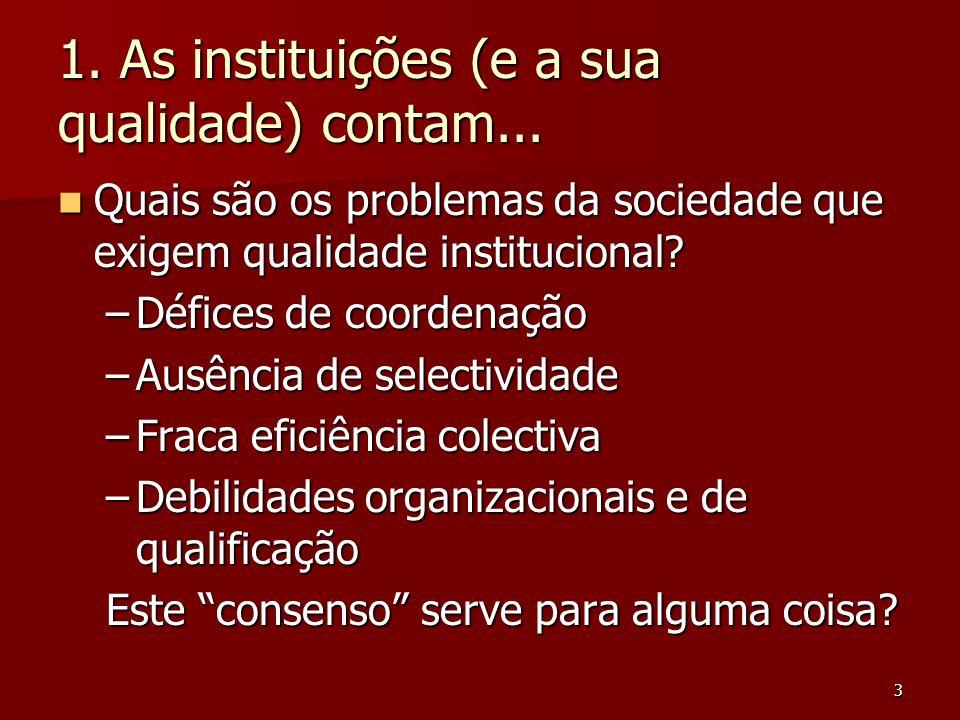 3 1. As instituições (e a sua qualidade) contam... Quais são os problemas da sociedade que exigem qualidade institucional? Quais são os problemas da s