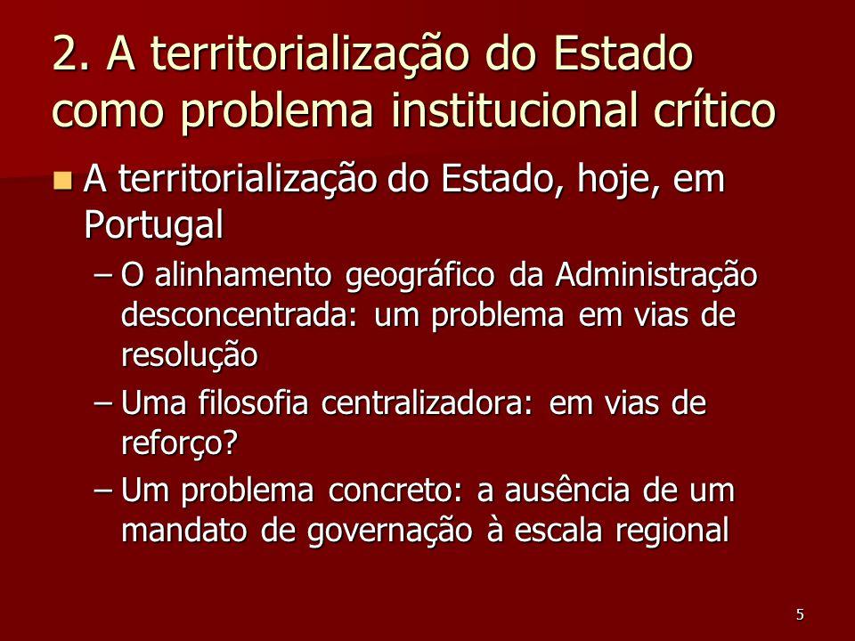 5 2. A territorialização do Estado como problema institucional crítico A territorialização do Estado, hoje, em Portugal A territorialização do Estado,