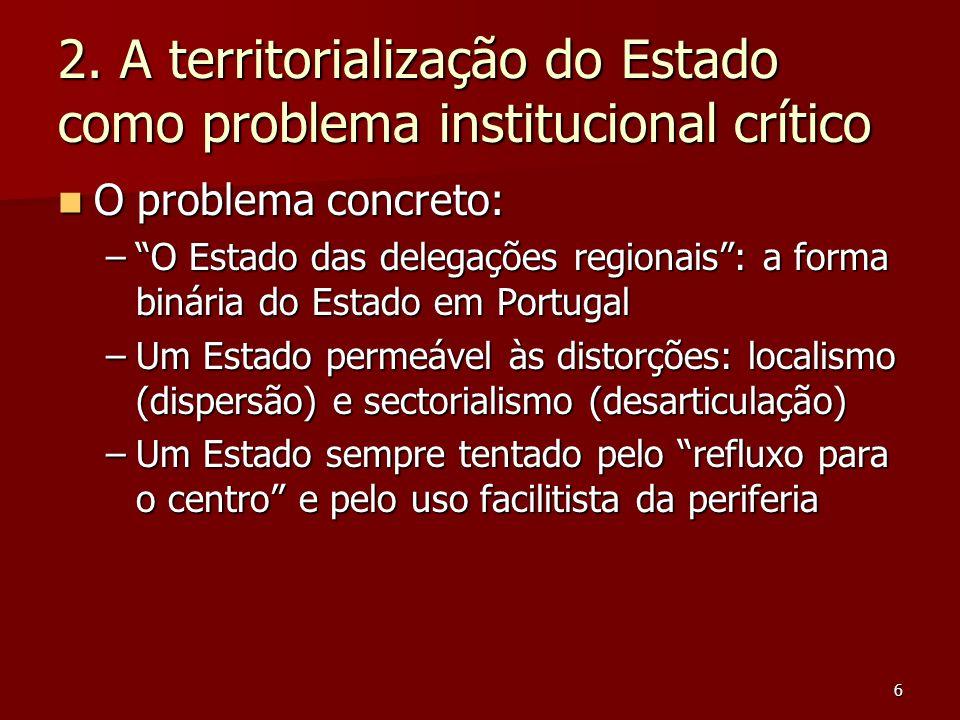 """6 2. A territorialização do Estado como problema institucional crítico O problema concreto: O problema concreto: –""""O Estado das delegações regionais"""":"""