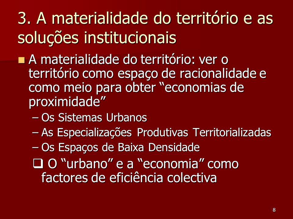 8 3. A materialidade do território e as soluções institucionais A materialidade do território: ver o território como espaço de racionalidade e como me