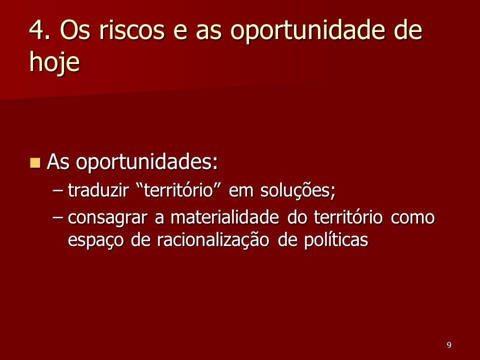 "9 4. Os riscos e as oportunidade de hoje As oportunidades: As oportunidades: –traduzir ""território"" em soluções; –consagrar a materialidade do territó"