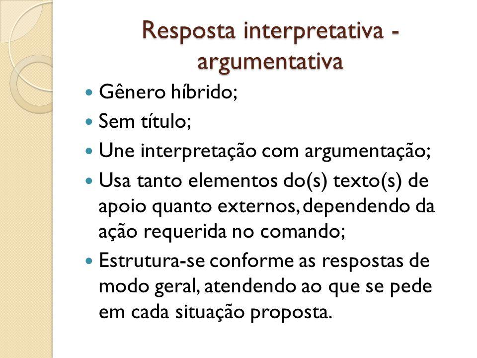 Resposta interpretativa - argumentativa Gênero híbrido; Sem título; Une interpretação com argumentação; Usa tanto elementos do(s) texto(s) de apoio qu
