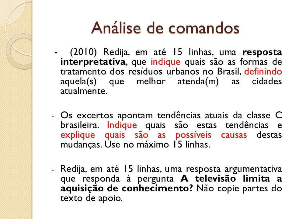 Análise de comandos - (2010) Redija, em até 15 linhas, uma resposta interpretativa, que indique quais são as formas de tratamento dos resíduos urbanos