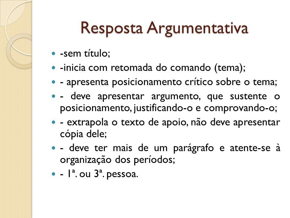 Resposta Argumentativa -sem título; -inicia com retomada do comando (tema); - apresenta posicionamento crítico sobre o tema; - deve apresentar argumen