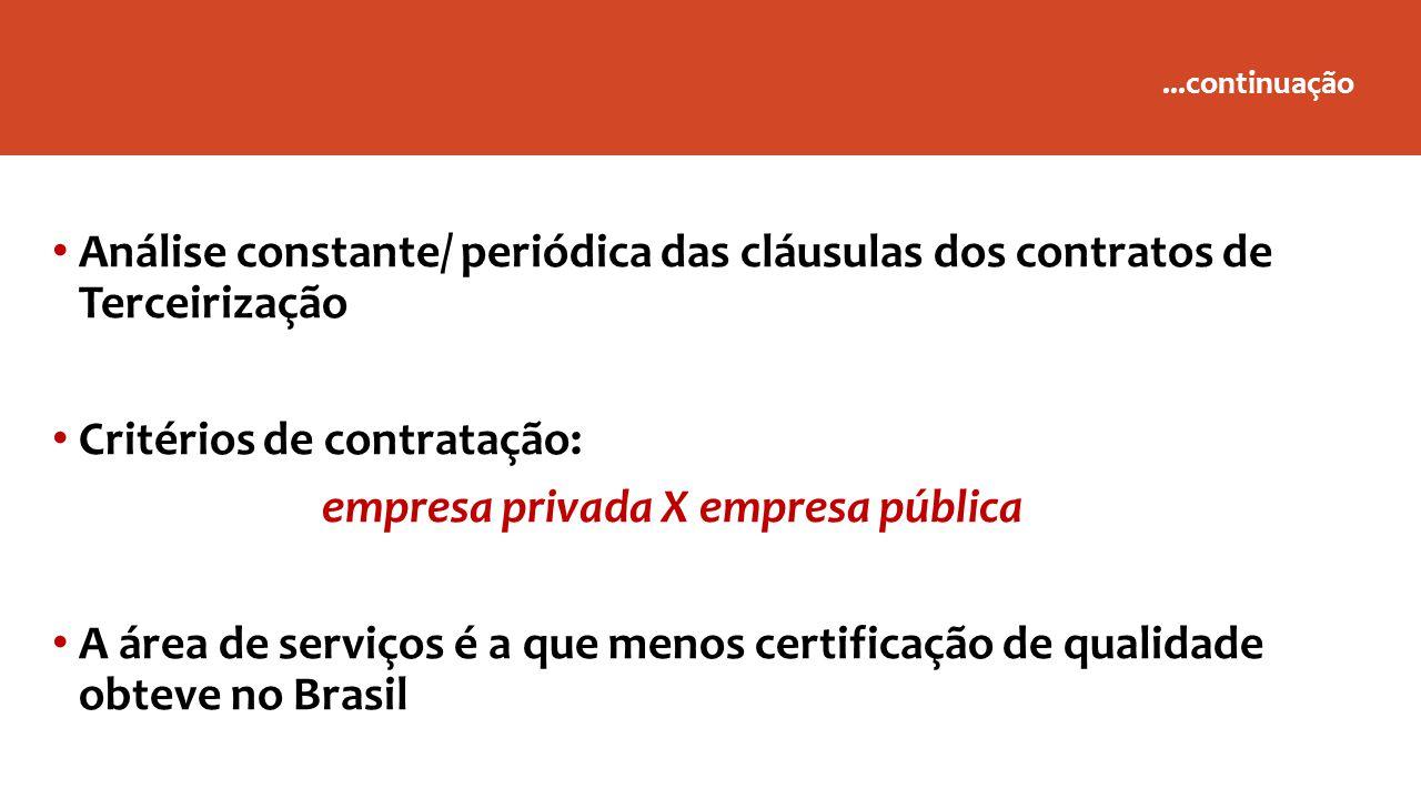 ...continuação Análise constante/ periódica das cláusulas dos contratos de Terceirização Critérios de contratação: empresa privada X empresa pública A área de serviços é a que menos certificação de qualidade obteve no Brasil