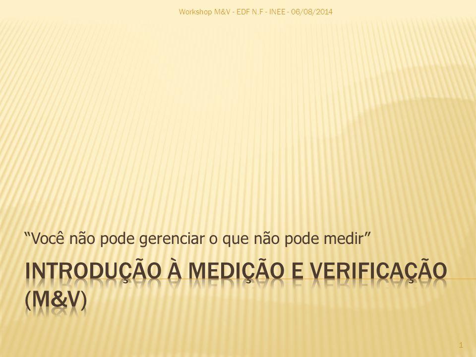 Você não pode gerenciar o que não pode medir Workshop M&V - EDF N.F - INEE - 06/08/2014 1