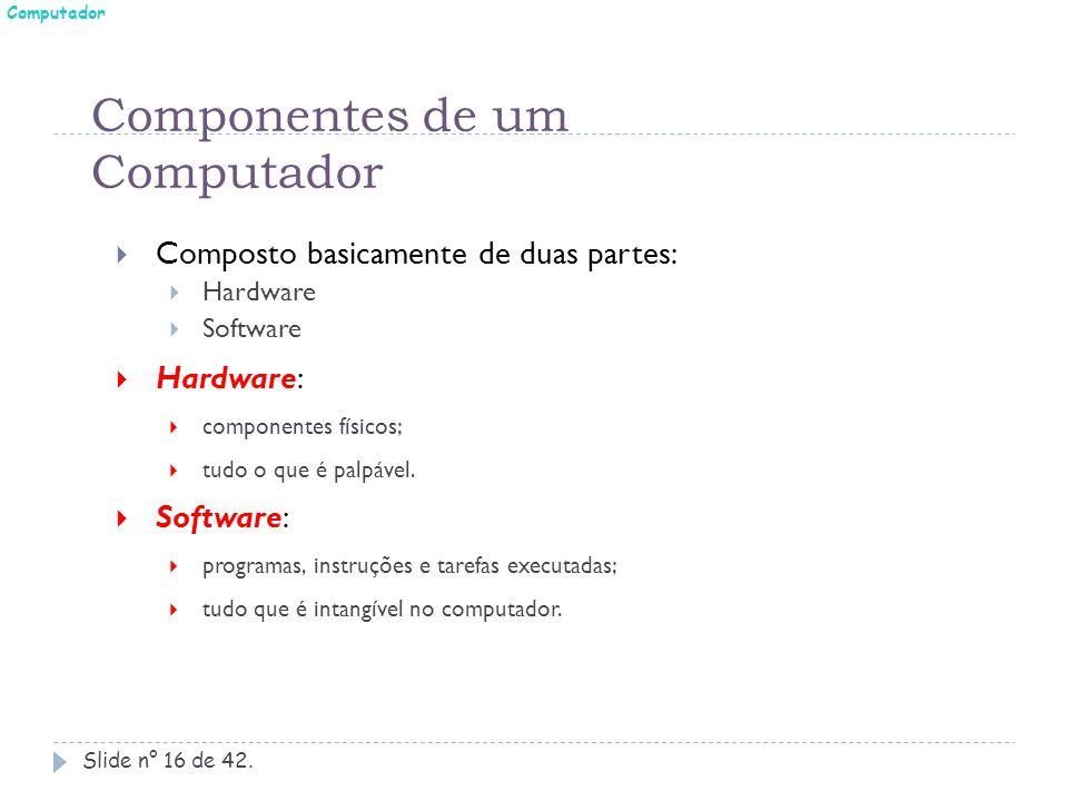 Componentes de um Computador Slide n° 16 de 42.  Composto basicamente de duas partes:  Hardware  Software  Hardware:  componentes físicos;  tudo