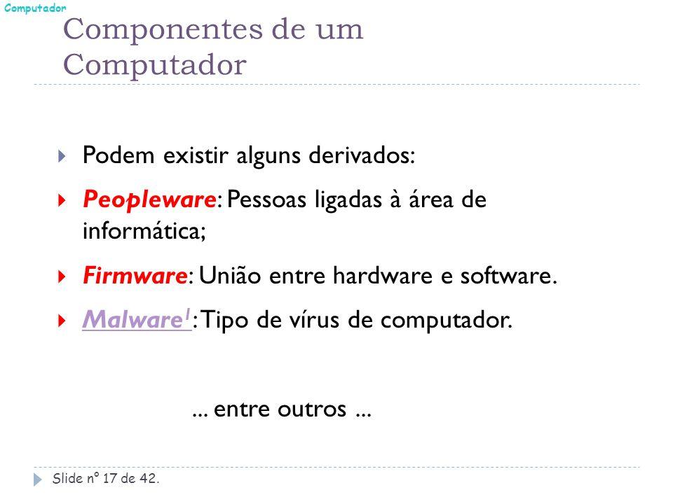 Componentes de um Computador Slide n° 17 de 42.  Podem existir alguns derivados:  Peopleware: Pessoas ligadas à área de informática;  Firmware: Uni