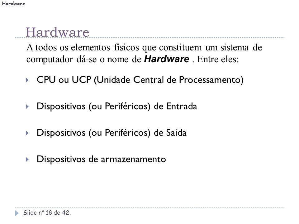 Hardware Slide n° 18 de 42.  CPU ou UCP (Unidade Central de Processamento)  Dispositivos (ou Periféricos) de Entrada  Dispositivos (ou Periféricos)