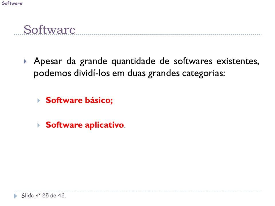 Software Slide n° 25 de 42.  Apesar da grande quantidade de softwares existentes, podemos dividí-los em duas grandes categorias:  Software básico; 