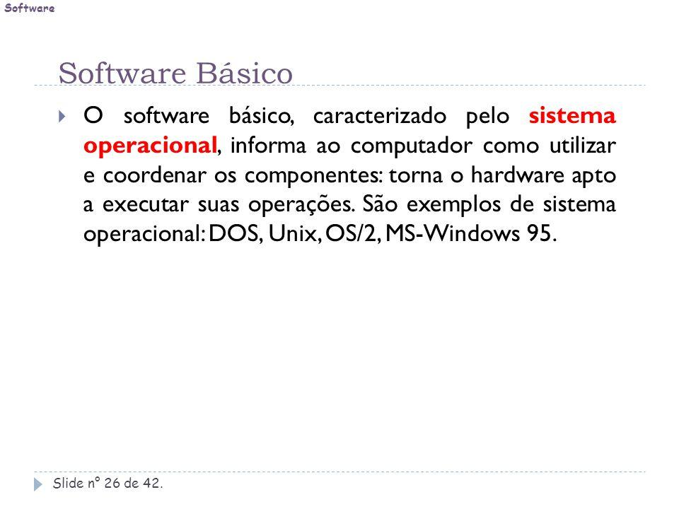 Software Básico Slide n° 26 de 42.  O software básico, caracterizado pelo sistema operacional, informa ao computador como utilizar e coordenar os com