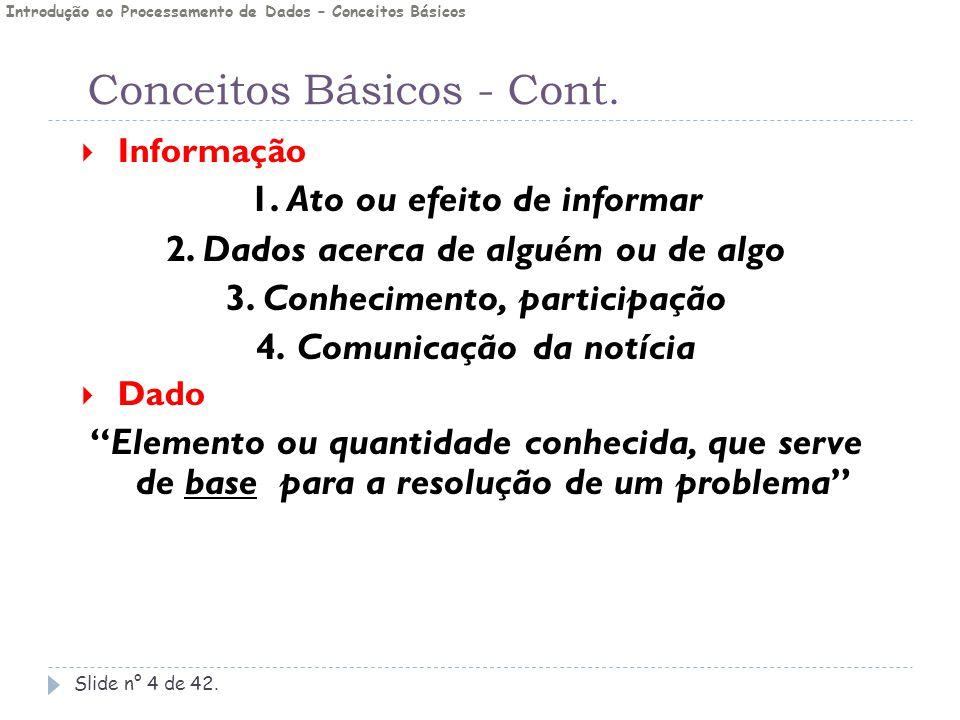 Conceitos Básicos - Cont. Slide n° 4 de 42.  Informação 1. Ato ou efeito de informar 2. Dados acerca de alguém ou de algo 3. Conhecimento, participaç