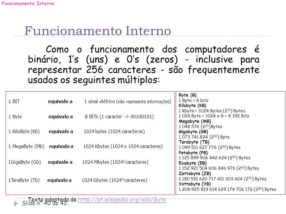 Slide n° 40 de 42. Como o funcionamento dos computadores é binário, 1's (uns) e 0's (zeros) - inclusive para representar 256 caracteres - são frequent