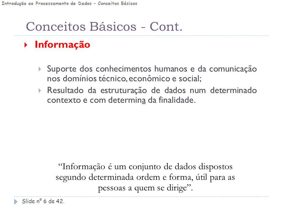 Conceitos Básicos - Cont. Slide n° 6 de 42.  Informação  Suporte dos conhecimentos humanos e da comunicação nos domínios técnico, econômico e social