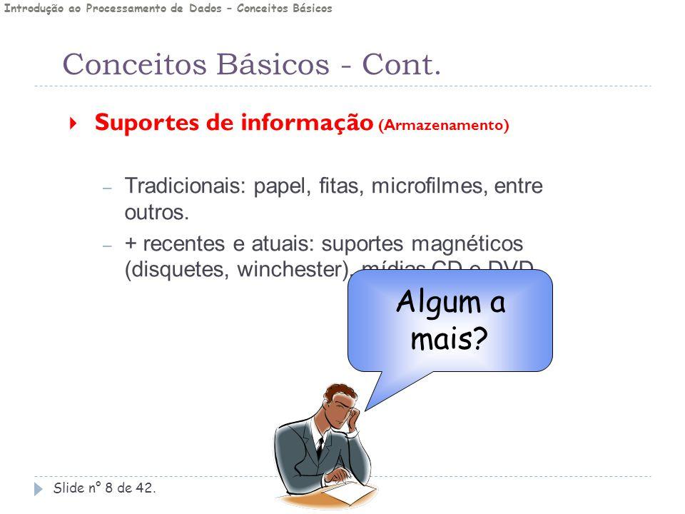 Conceitos Básicos - Cont. Slide n° 8 de 42.  Suportes de informação (Armazenamento) – Tradicionais: papel, fitas, microfilmes, entre outros. – + rece