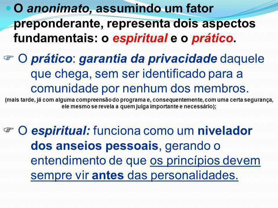O anonimato, assumindo um fator preponderante, representa dois aspectos fundamentais: o espiritual e o prático.  O prático: garantia da privacidade d