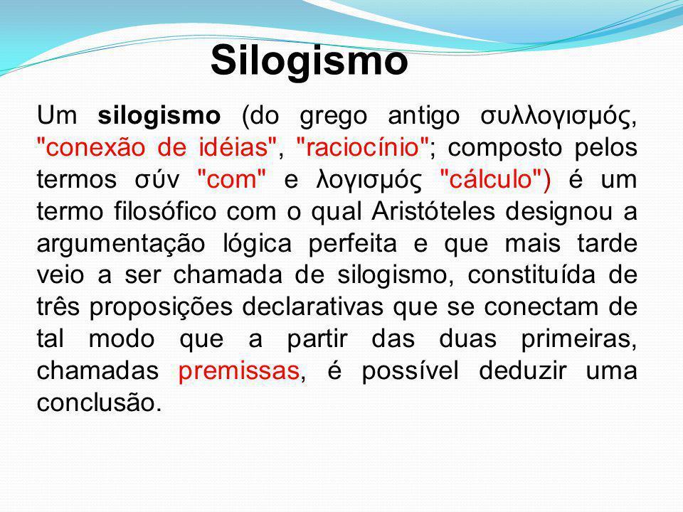Um silogismo (do grego antigo συλλογισμός,