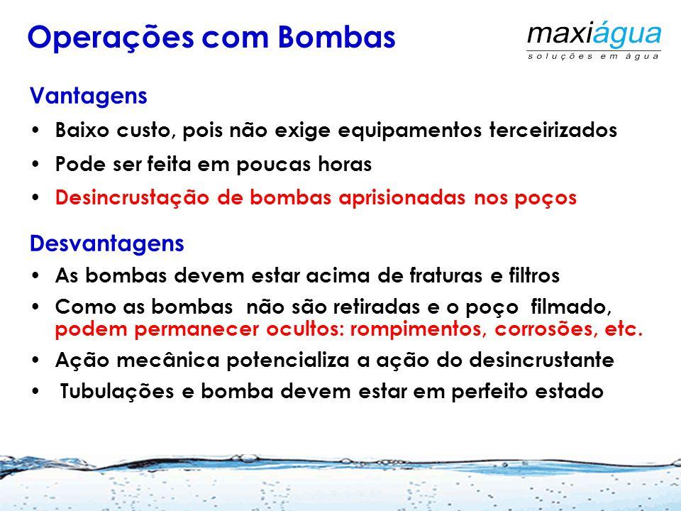 Formas de Aplicação Com a própria bomba do poço Operações combinadas com de ar comprimido e/ou métodos mecânicos/hidráulicos A recomendação geral é pa