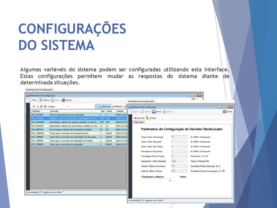 CONFIGURAÇÕES DO SISTEMA 20 Algumas variáveis do sistema podem ser configuradas utilizando esta interface. Estas configurações permitem mudar as respo