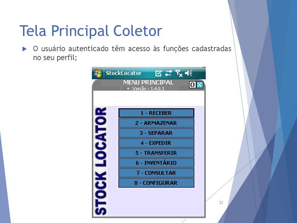 Tela Principal Coletor 23  O usuário autenticado têm acesso às funções cadastradas no seu perfil;