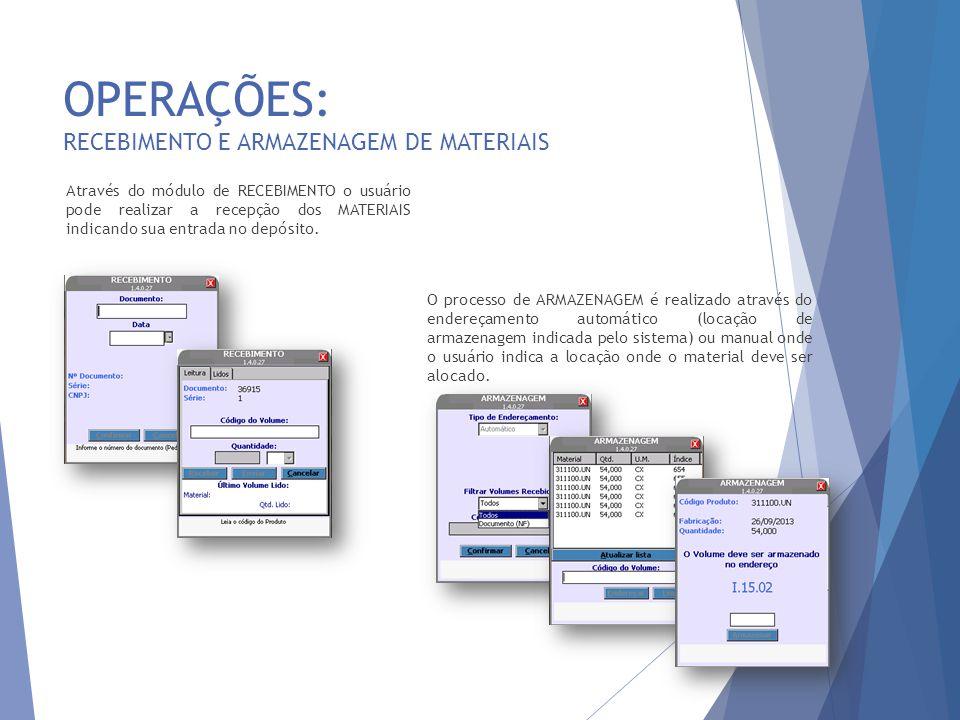 OPERAÇÕES: RECEBIMENTO E ARMAZENAGEM DE MATERIAIS 24 Através do módulo de RECEBIMENTO o usuário pode realizar a recepção dos MATERIAIS indicando sua entrada no depósito.