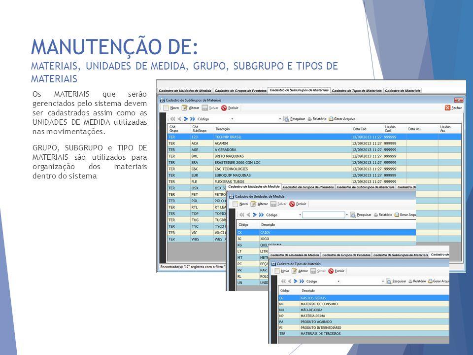 MANUTENÇÃO DE: MATERIAIS 9 Na manutenção de MATERIAIS é possível especificar as variáveis logísticas de controle de cada MATERIAL.