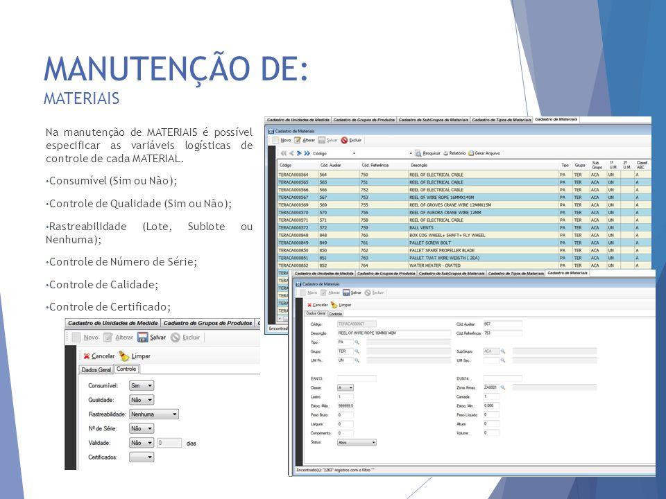 MANUTENÇÃO DE: MATERIAIS 9 Na manutenção de MATERIAIS é possível especificar as variáveis logísticas de controle de cada MATERIAL. Consumível (Sim ou