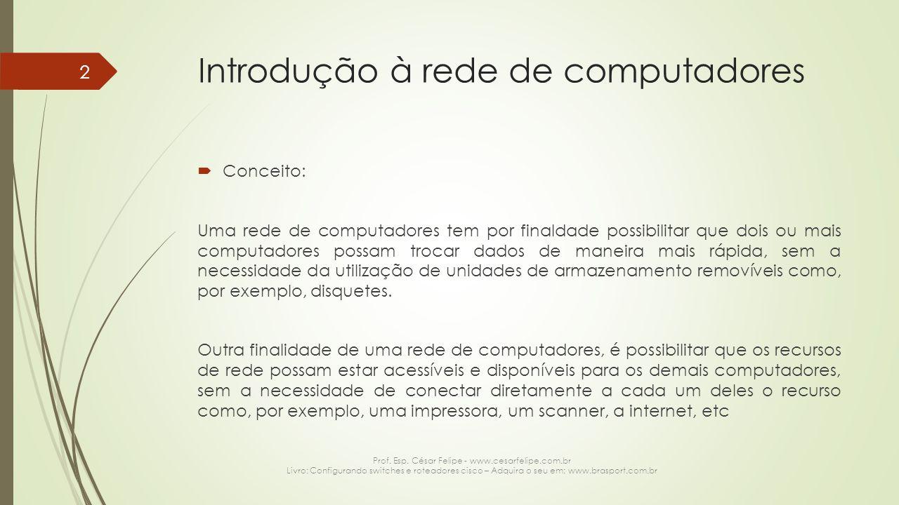 Introdução à rede de computadores  Conceito: Uma rede de computadores tem por finaldade possibilitar que dois ou mais computadores possam trocar dados de maneira mais rápida, sem a necessidade da utilização de unidades de armazenamento removíveis como, por exemplo, disquetes.