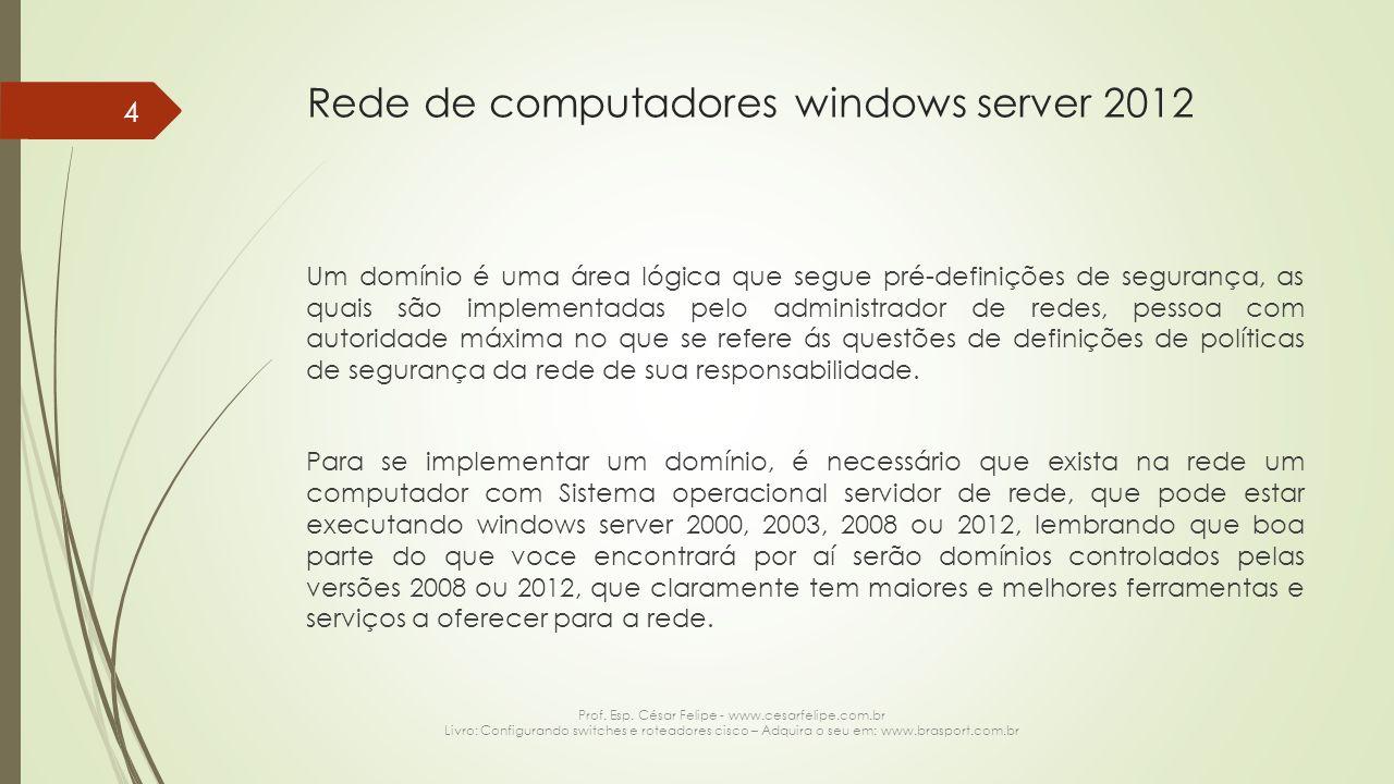 Rede de computadores windows server 2012 Um domínio é uma área lógica que segue pré-definições de segurança, as quais são implementadas pelo administrador de redes, pessoa com autoridade máxima no que se refere ás questões de definições de políticas de segurança da rede de sua responsabilidade.