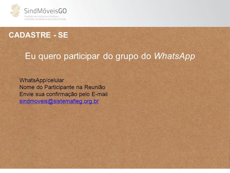 CADASTRE - SE WhatsApp/celular Nome do Participante na Reunião Envie sua confirmação pelo E-mail sindmoveis@sistemafieg.org.br sindmoveis@sistemafieg.