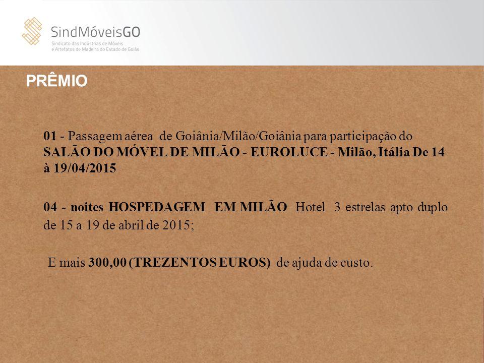 PRÊMIO 01 - Passagem aérea de Goiânia/Milão/Goiânia para participação do SALÃO DO MÓVEL DE MILÃO - EUROLUCE - Milão, Itália De 14 à 19/04/2015 04 - no