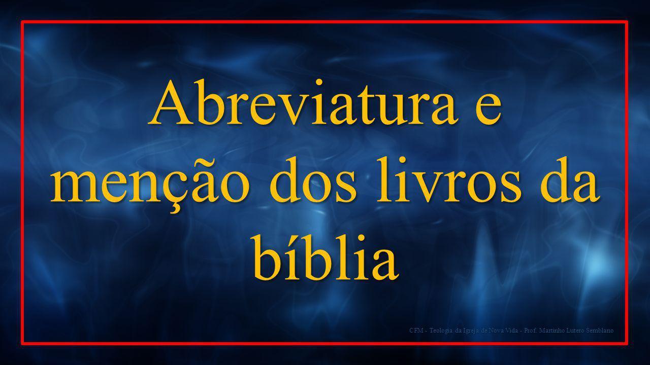 Abreviatura e menção dos livros da bíblia